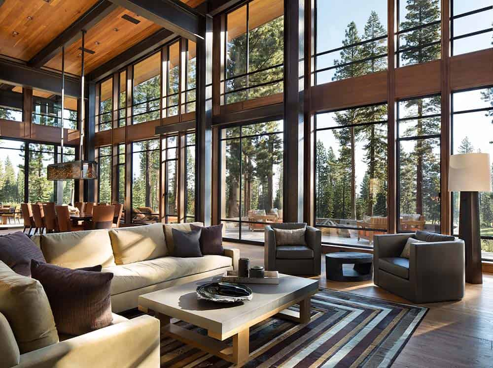 Fabulous mountain modern retreat in the high sierras for Modern architecture interior