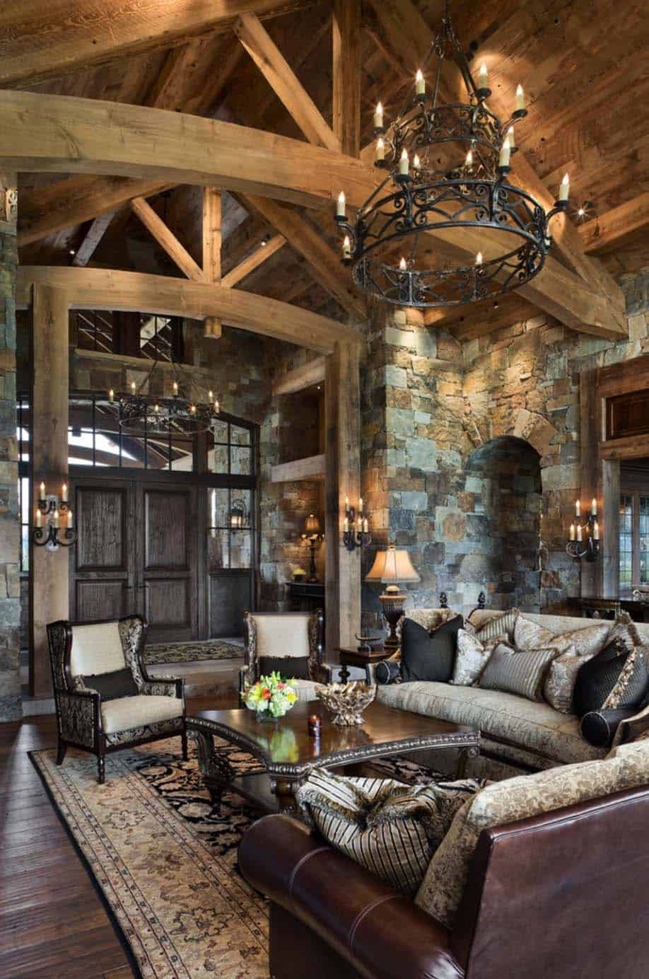 Rustic yet refined mountain home surrounded by montana 39 s Mountain home interiors