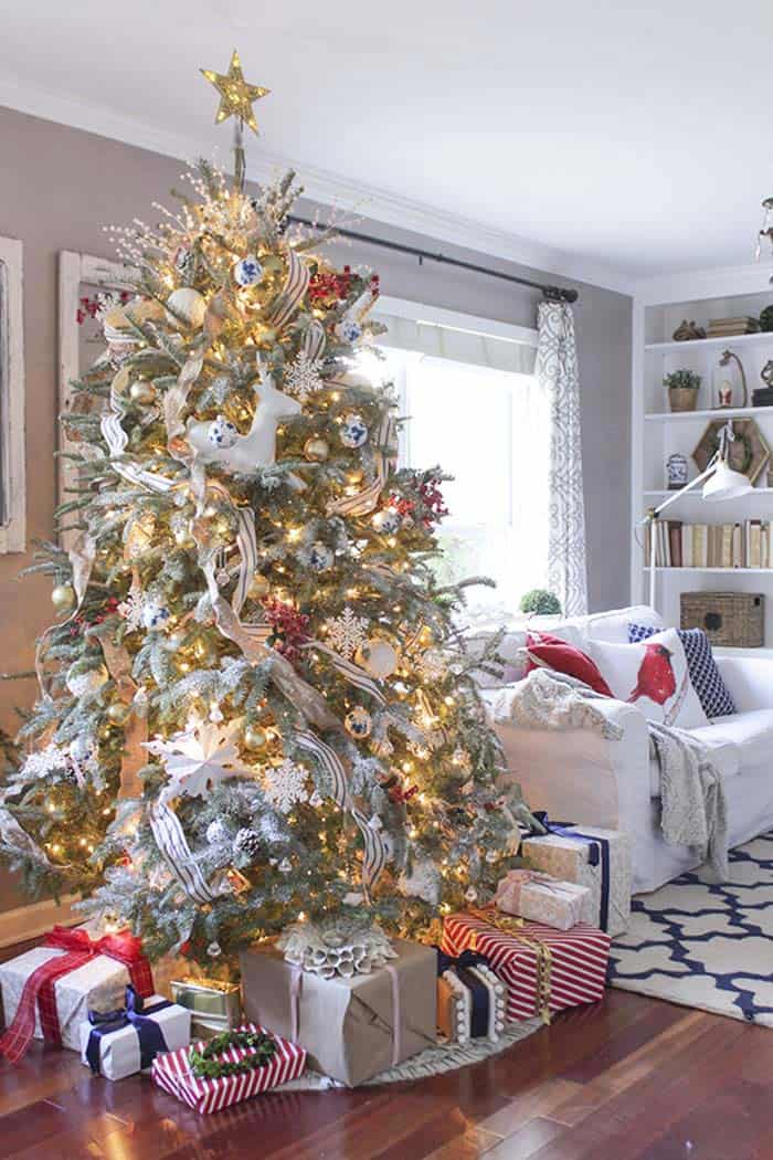 christmas decor ideas rustic country 02 1 kindesign - Country Christmas Tree Decorations