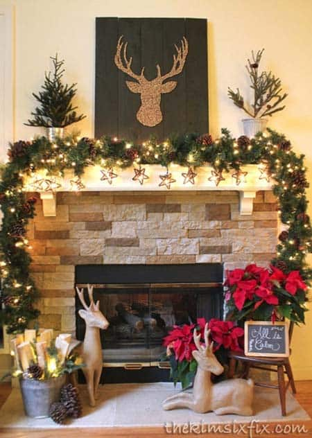 christmas decor ideas rustic country 33 1 kindesign - Country Christmas Mantel Decorating Ideas