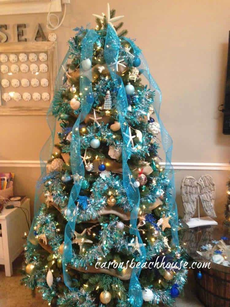 coastal christmas tree decorating ideas 19 1 kindesign - Turquoise Christmas Tree Decorations