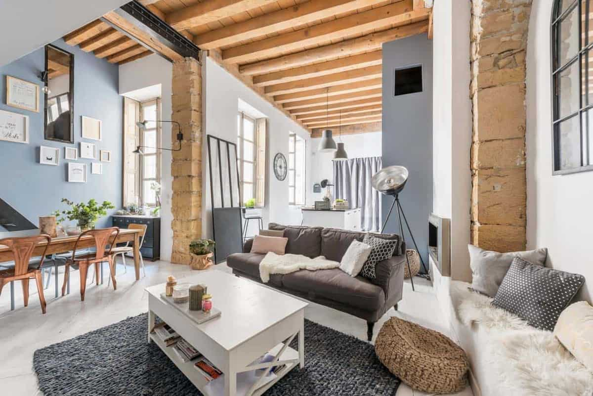 Charming loft apartment in france with modern industrial aesthetic
