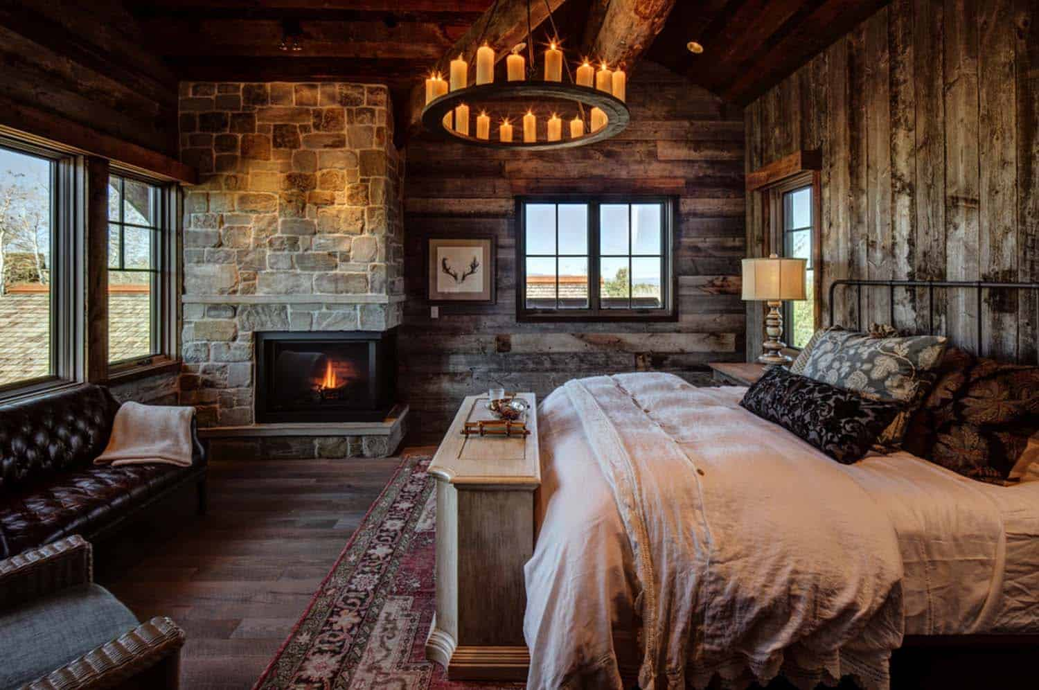 35 gorgeous log cabin style bedrooms to make you drool Rustic style attic design a corner full of passion