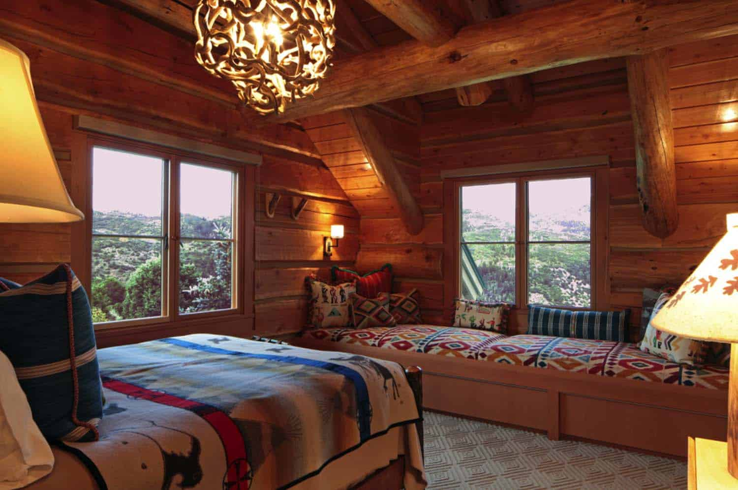 35 gorgeous log cabin style bedrooms to make you drool for Cabin bedroom designs