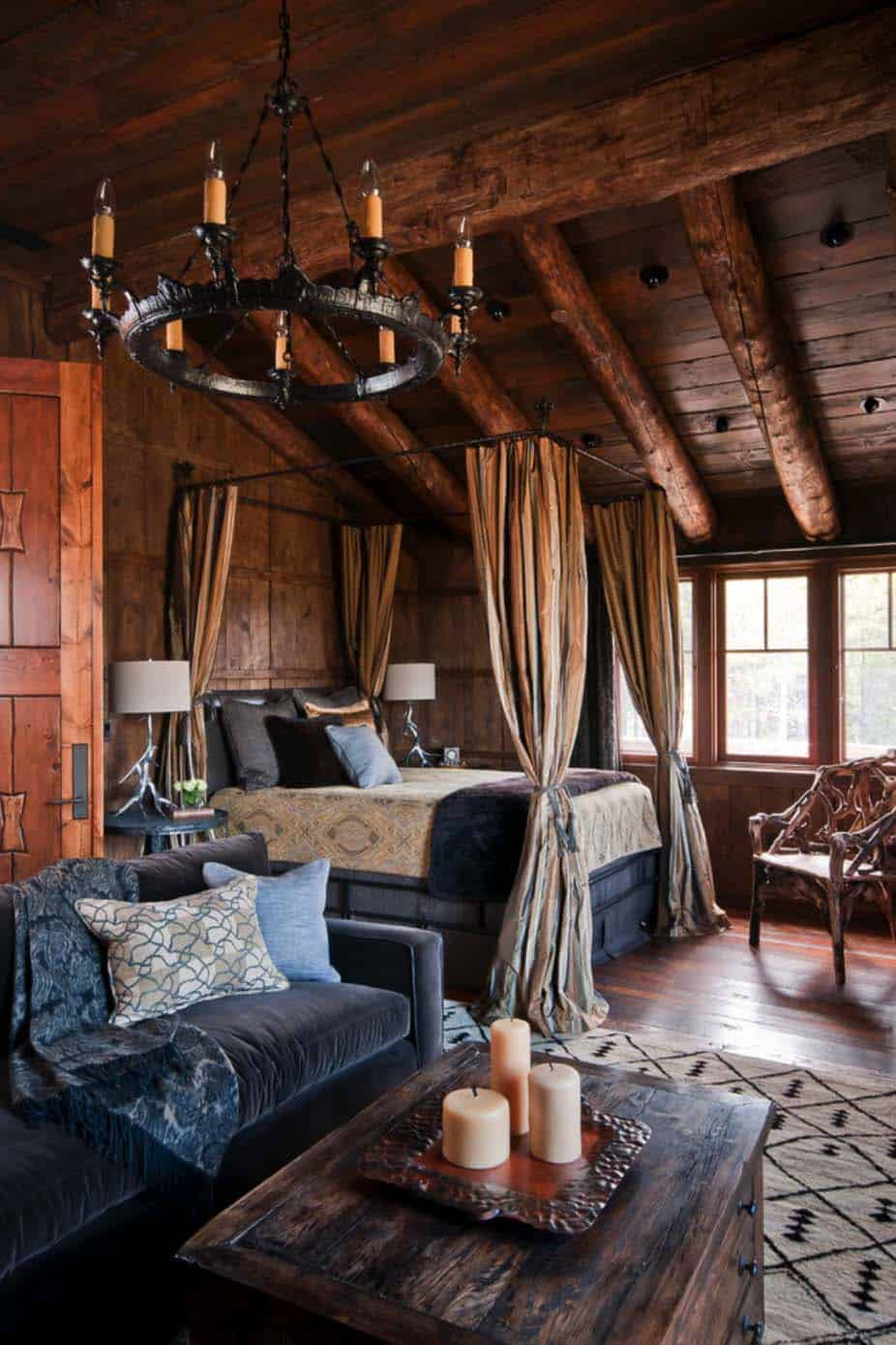35 gorgeous log cabin style bedrooms to make you drool for Log cabin style bunk beds