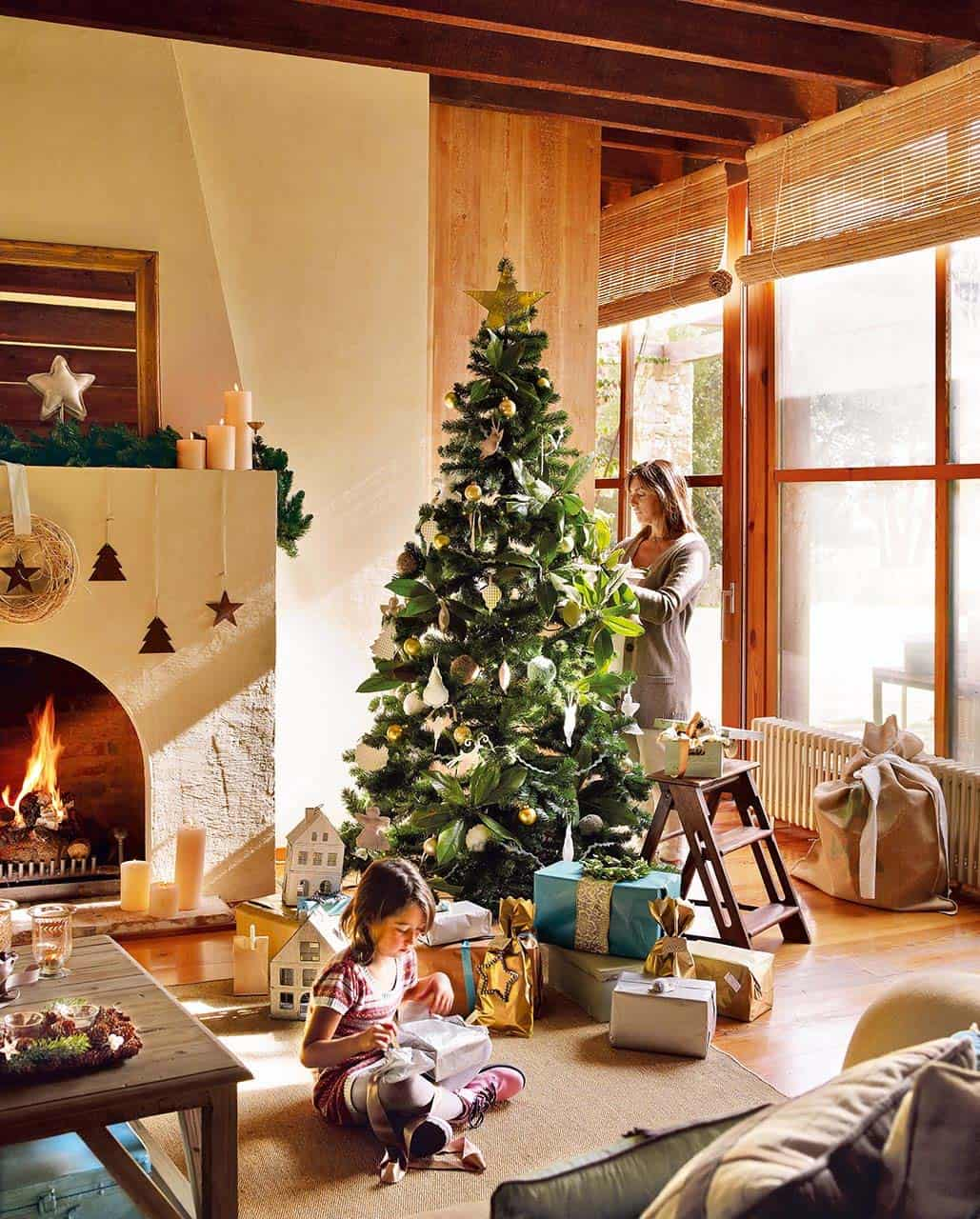 rustic christmas decorated home 06 1 kindesign