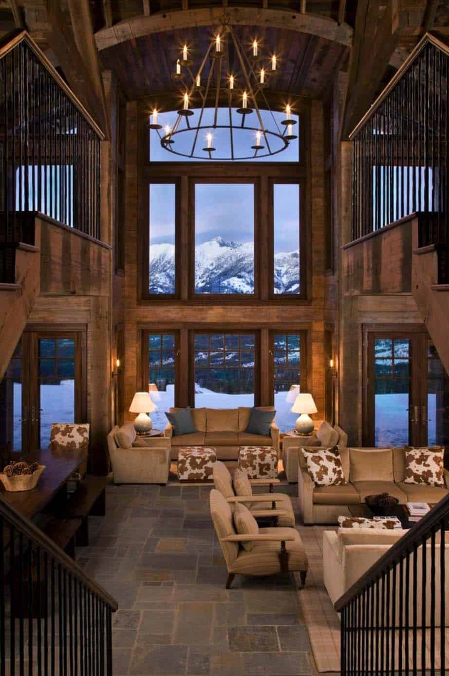 Rustic mountain retreat in big sky resembles an old lodge - Expansive large glass windows living room pros cons ...
