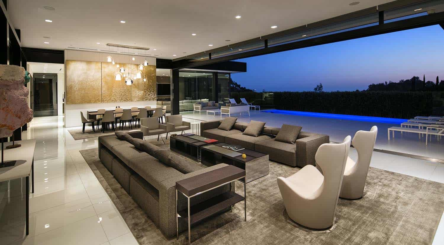 Sumptuous dream home with epic los angeles skyline views for Modern house design los angeles