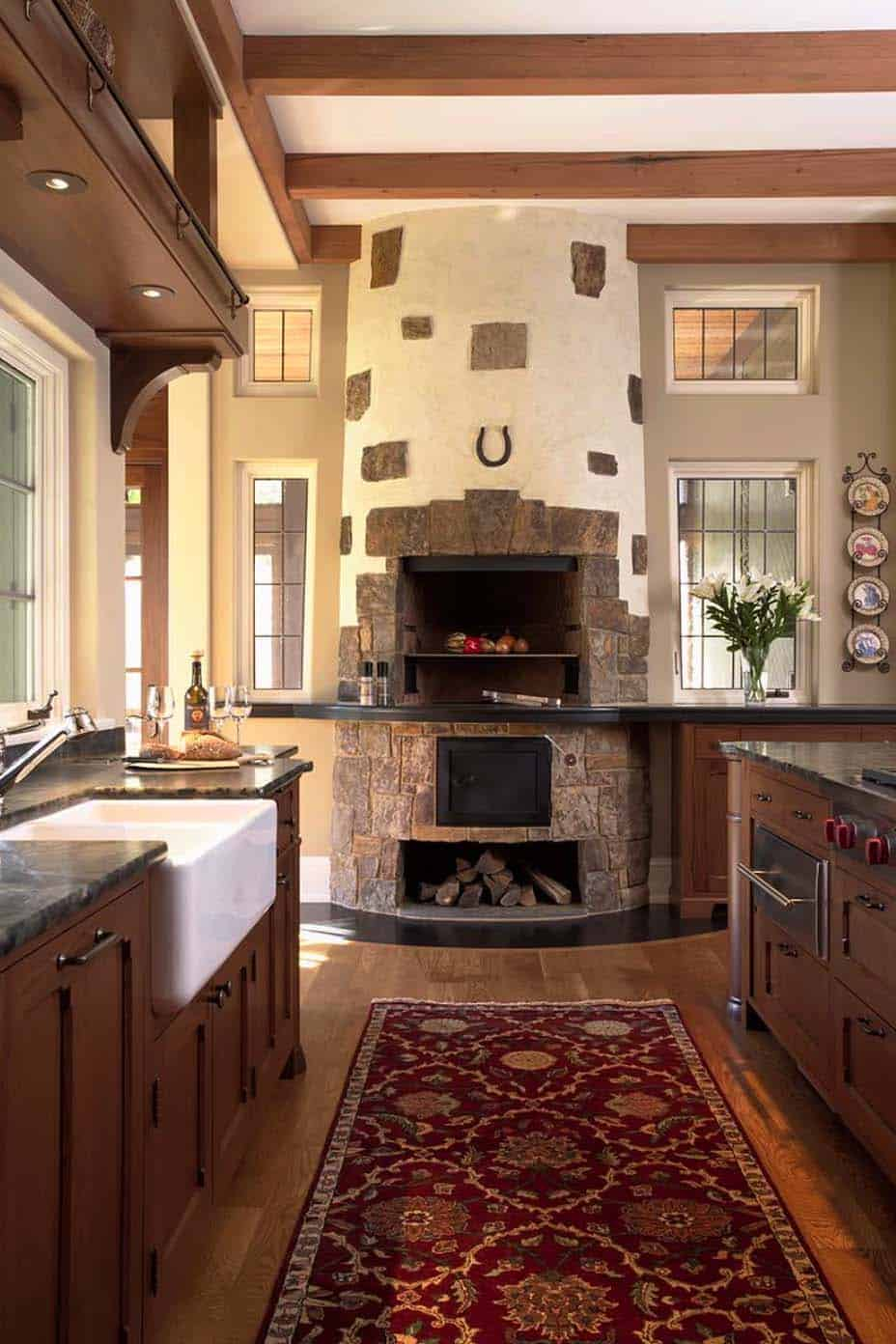 Kitchen Showcasing Cozy Fireplace-02-1 Kindesign