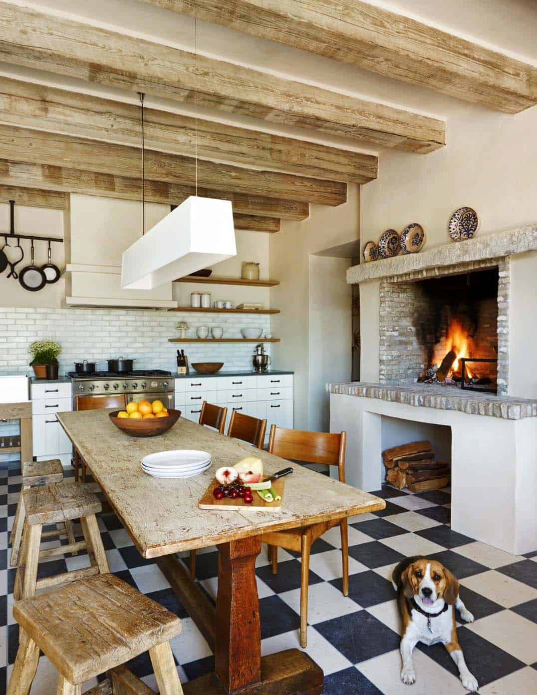 Kitchen Showcasing Cozy Fireplace-04-1 Kindesign