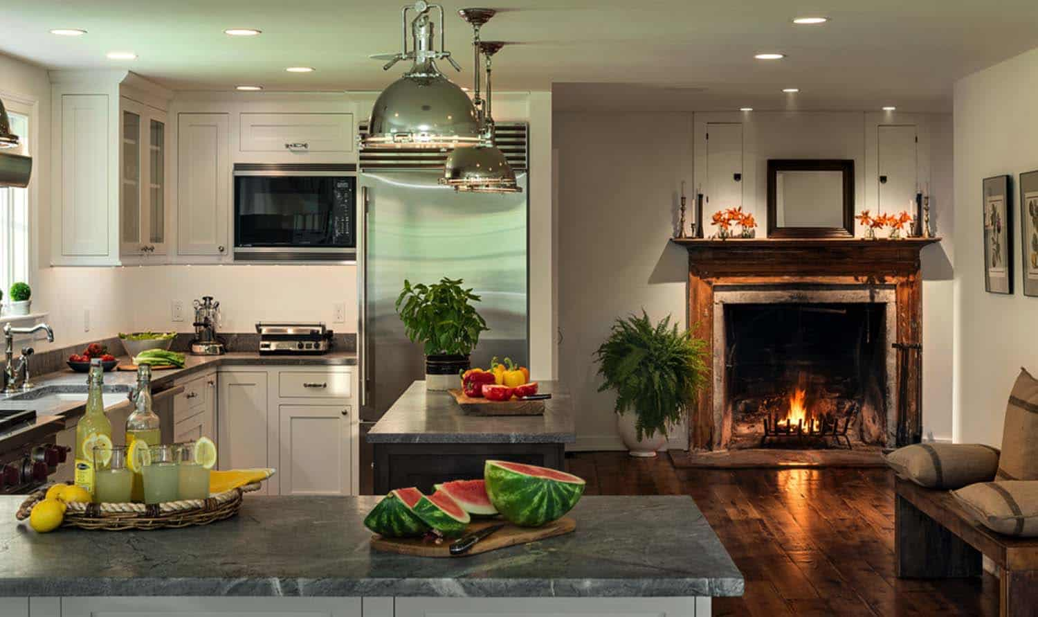Kitchen Showcasing Cozy Fireplace-09-1 Kindesign