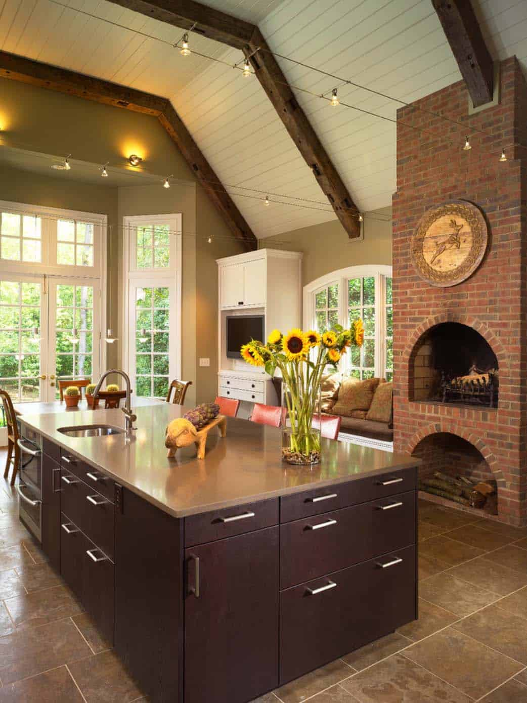 Kitchen Showcasing Cozy Fireplace-10-1 Kindesign