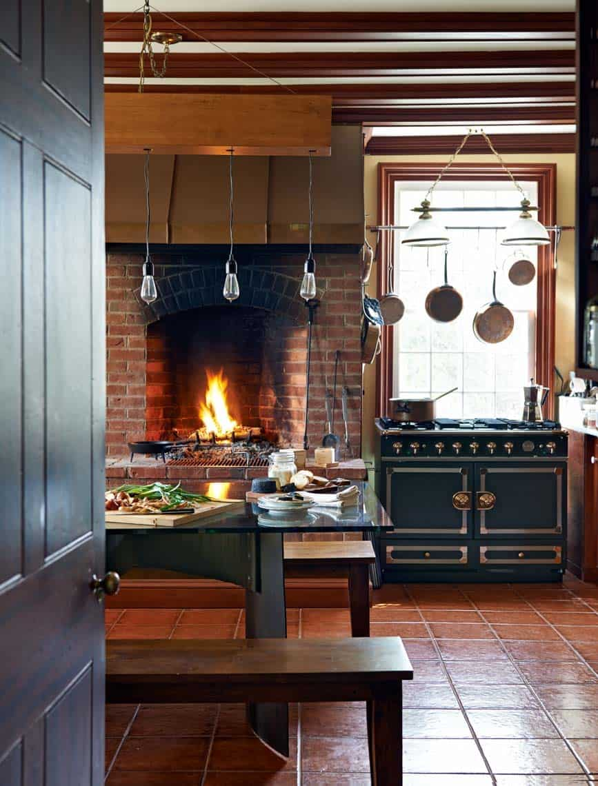 Kitchen Showcasing Cozy Fireplace-12-1 Kindesign