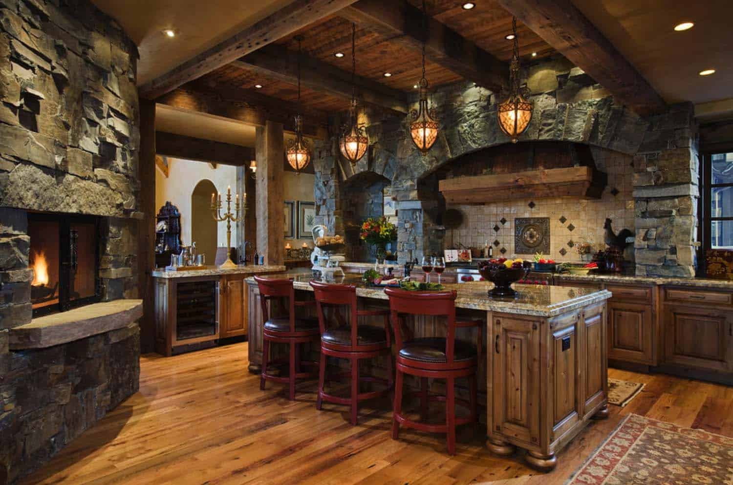 Kitchen Showcasing Cozy Fireplace-13-1 Kindesign