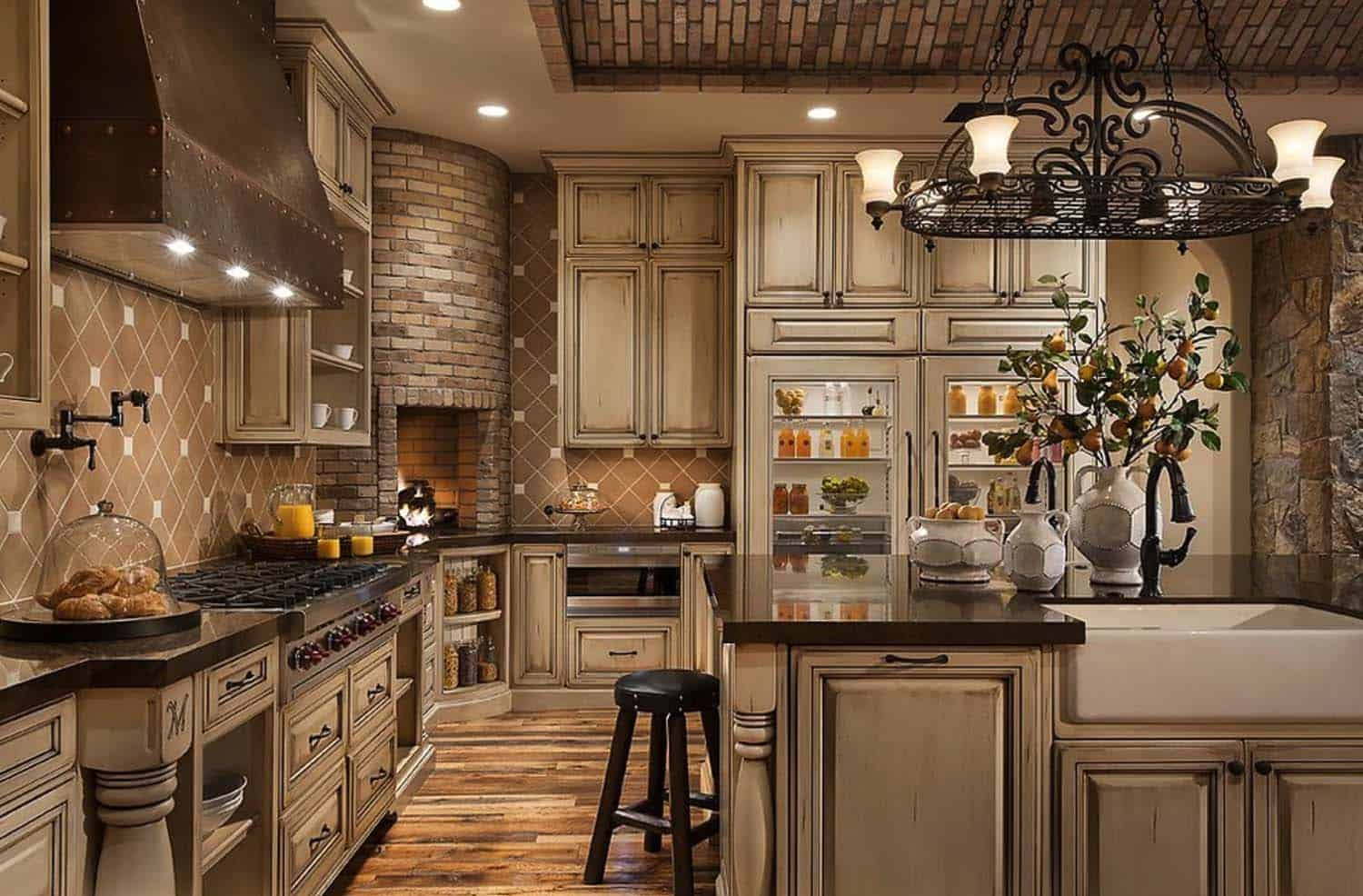 Kitchen Showcasing Cozy Fireplace-17-1 Kindesign