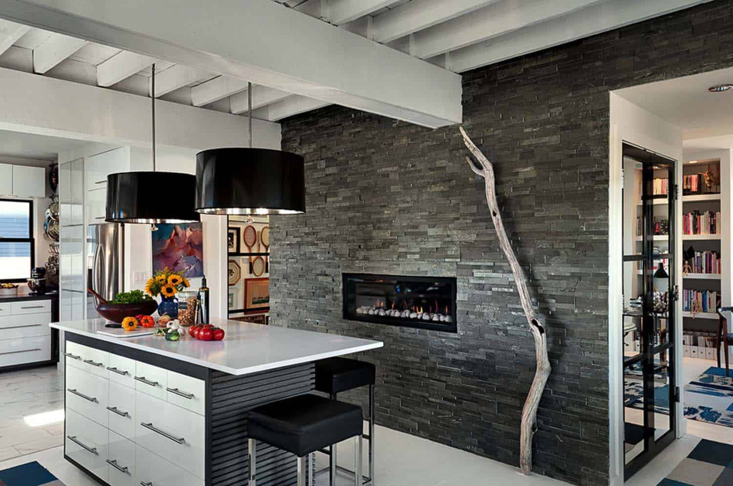 Kitchen Showcasing Cozy Fireplace-22-1 Kindesign