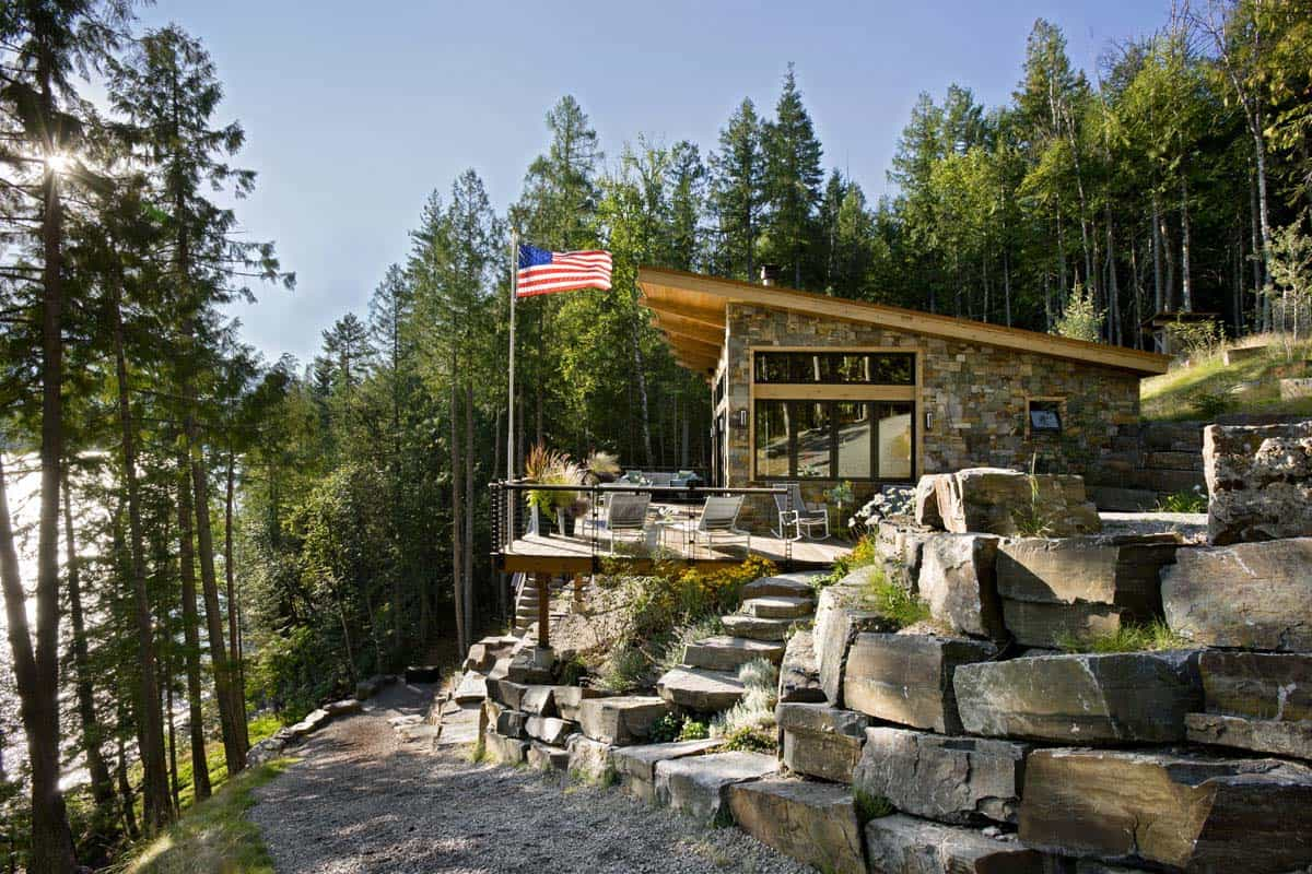 Compact yet stunning modern-rustic cabin perched over Swan ...
