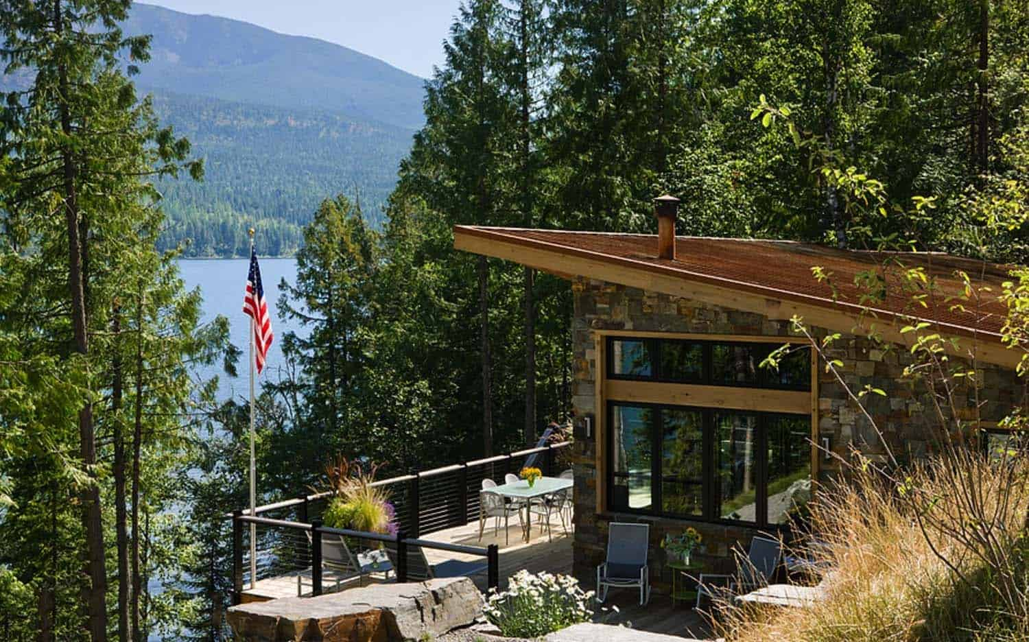 Modern Rustic Cabin on lake house deck designs