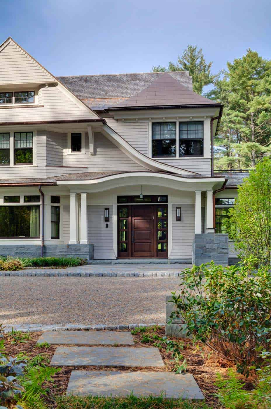 Classic New England style home with modern design elements