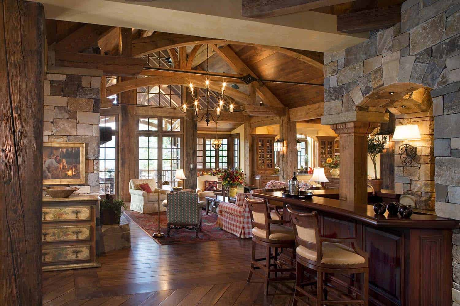 Exquisite big sky mountain retreat with timeless details for House plans with hearth room