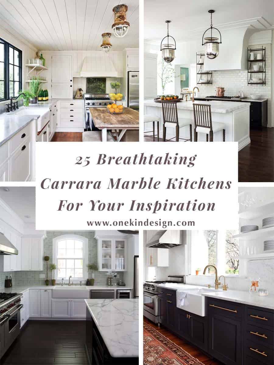 25 Breathtaking Carrara Marble Kitchens for your Inspiration on contemporary marble floor, white marble floor, shiny marble floor,