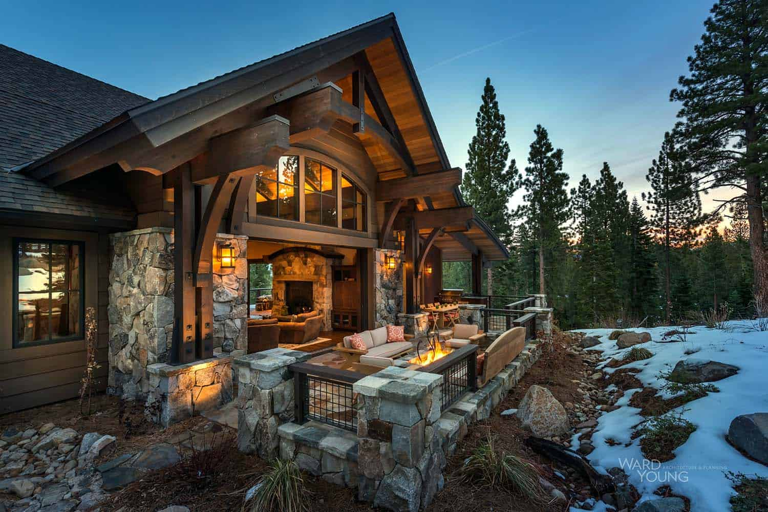 Lodge style home blends rustic contemporary in martis camp for Cabin style homes