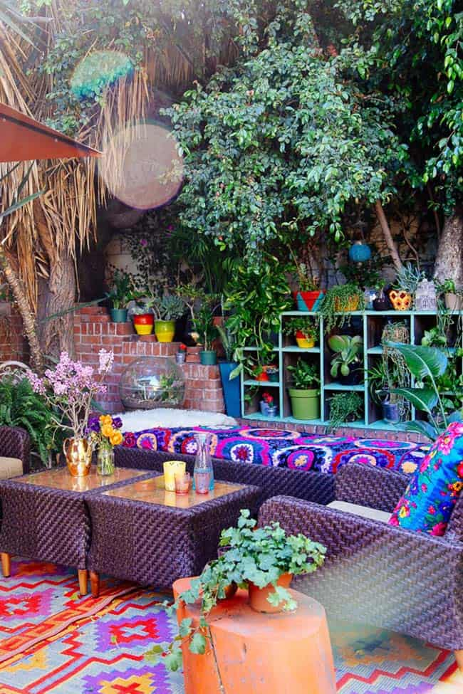28 Absolutely dreamy Bohemian garden design ideas on Bohemian Patio Ideas id=25541