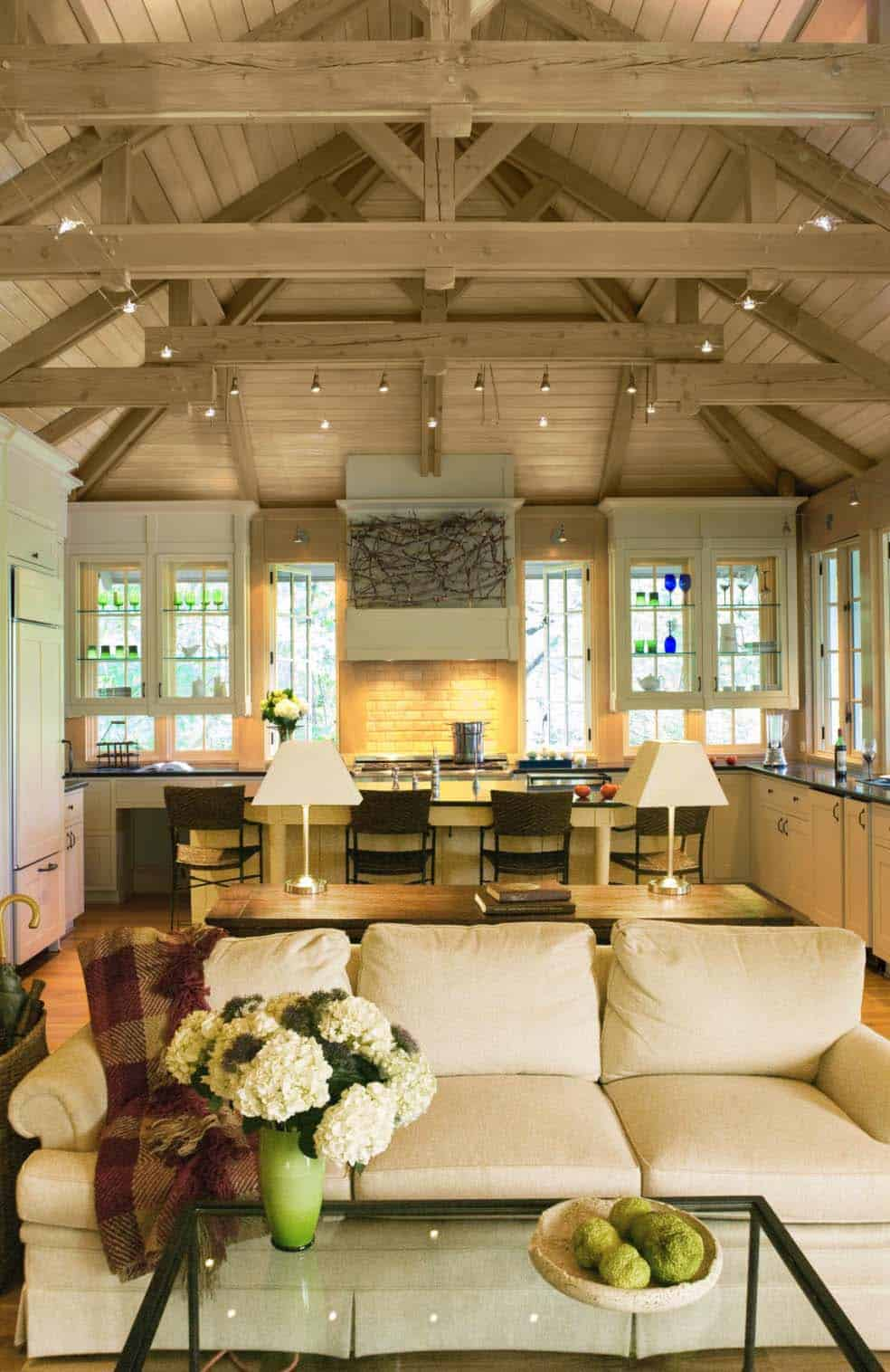 Interior Living Spaces-Exposed Ceiling Trusses-03-1 Kindesign