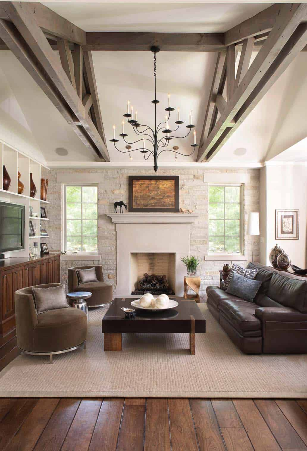 Interior Living Spaces-Exposed Ceiling Trusses-15-1 Kindesign