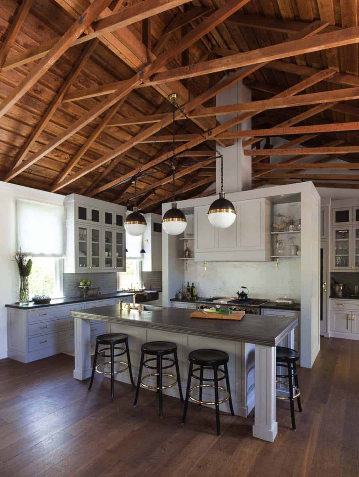 30 stunning interior living spaces with exposed ceiling for Exposed wood beam ceiling