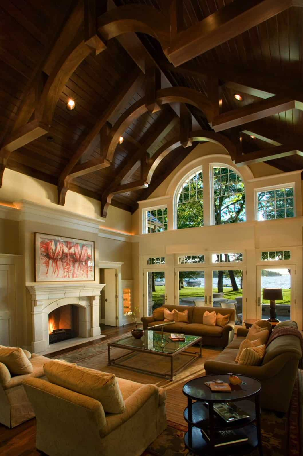 living-room-with-exposed-ceiling-trusses