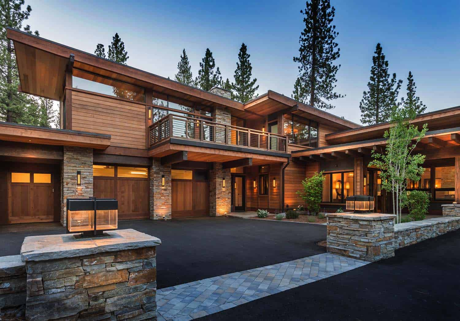 Mountain modern home in martis camp with indoor outdoor living for Modern rustic home plans