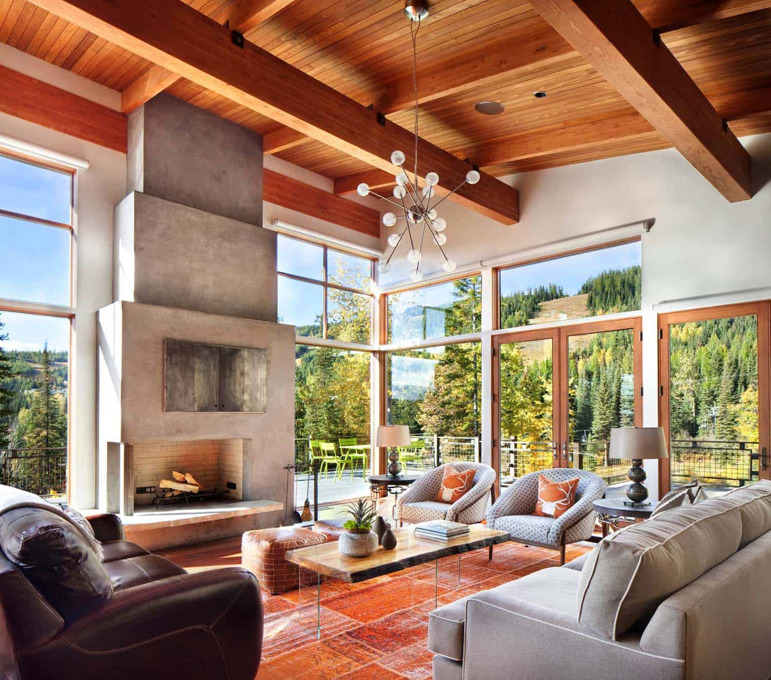 Modern Living Rooms Forest Views-15-1 Kindesign