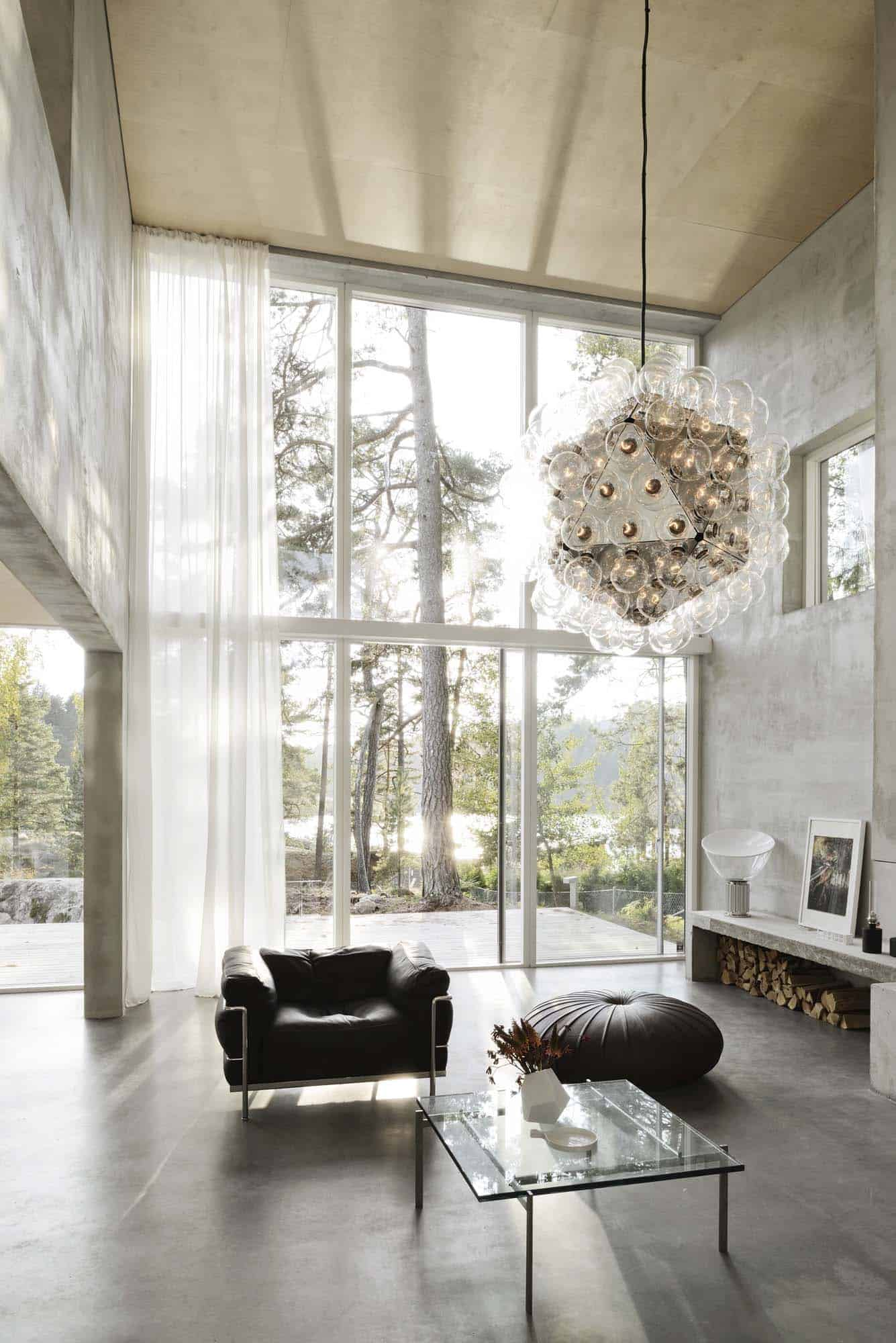 21 Luminous modern living rooms showcasing forest views