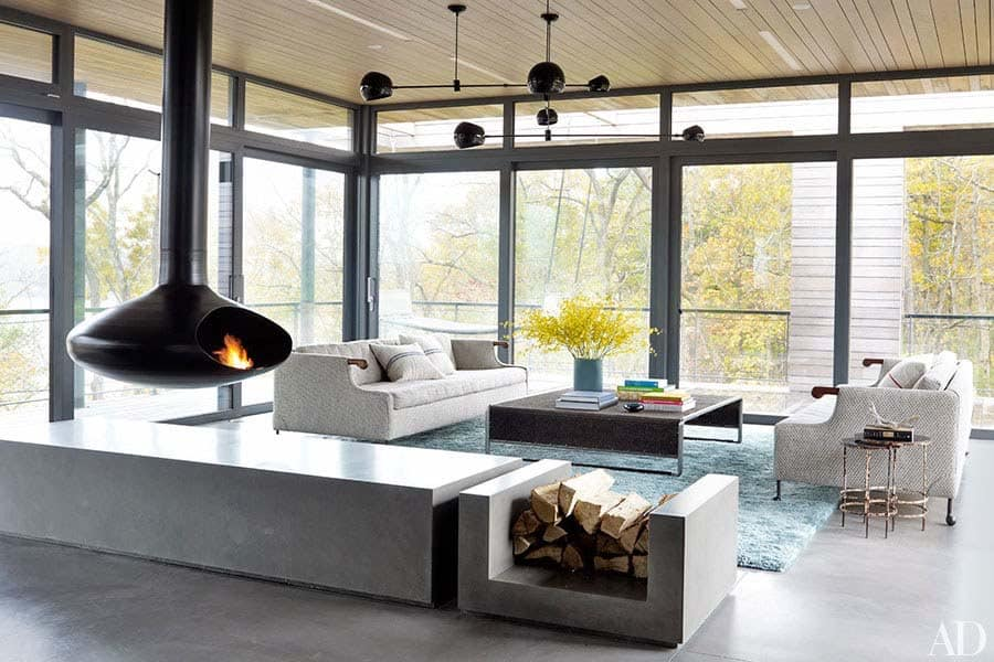 Modern Living Rooms Forest Views-20-1 Kindesign
