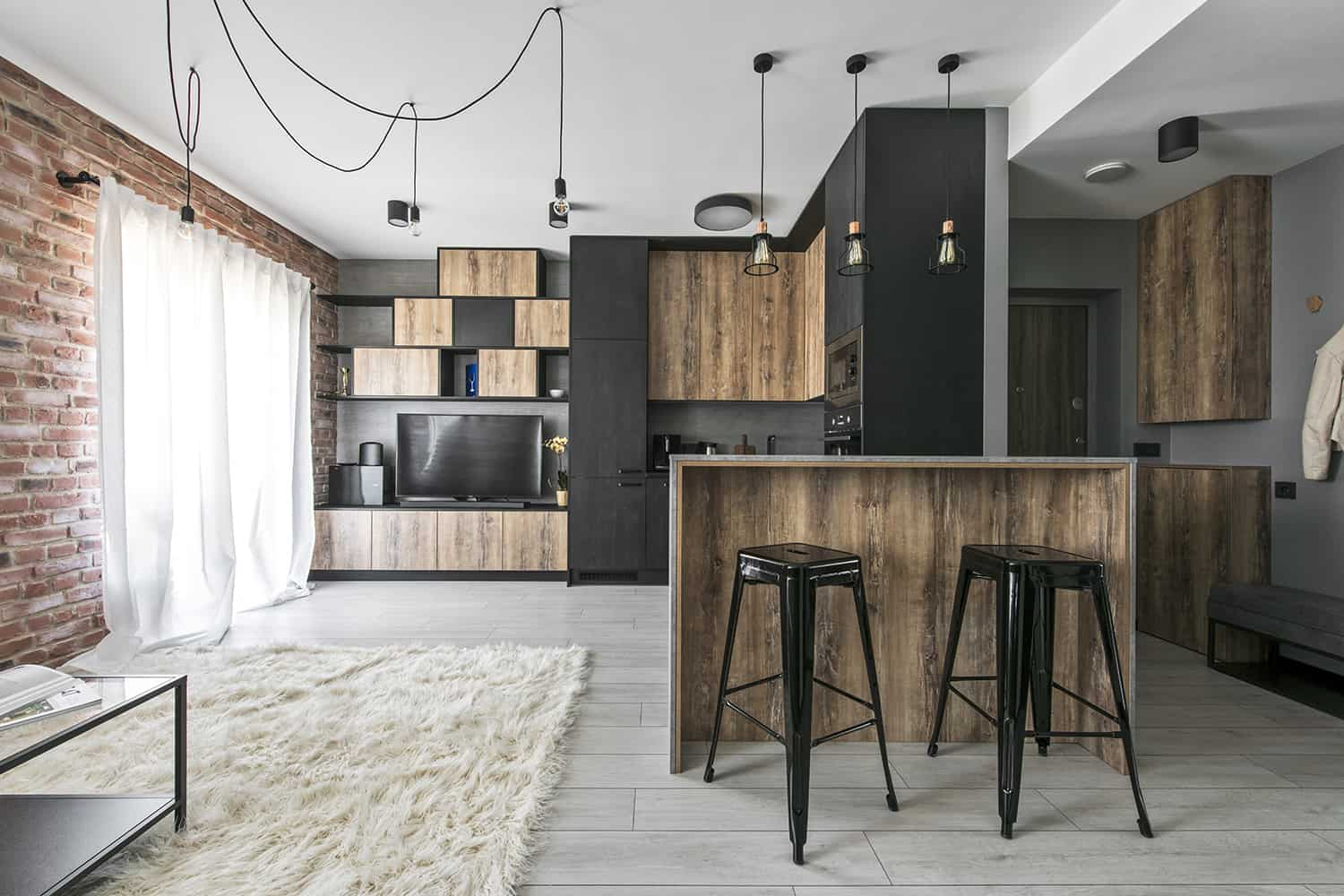 small industrial apartment in lithuania gets an inspiring. Black Bedroom Furniture Sets. Home Design Ideas