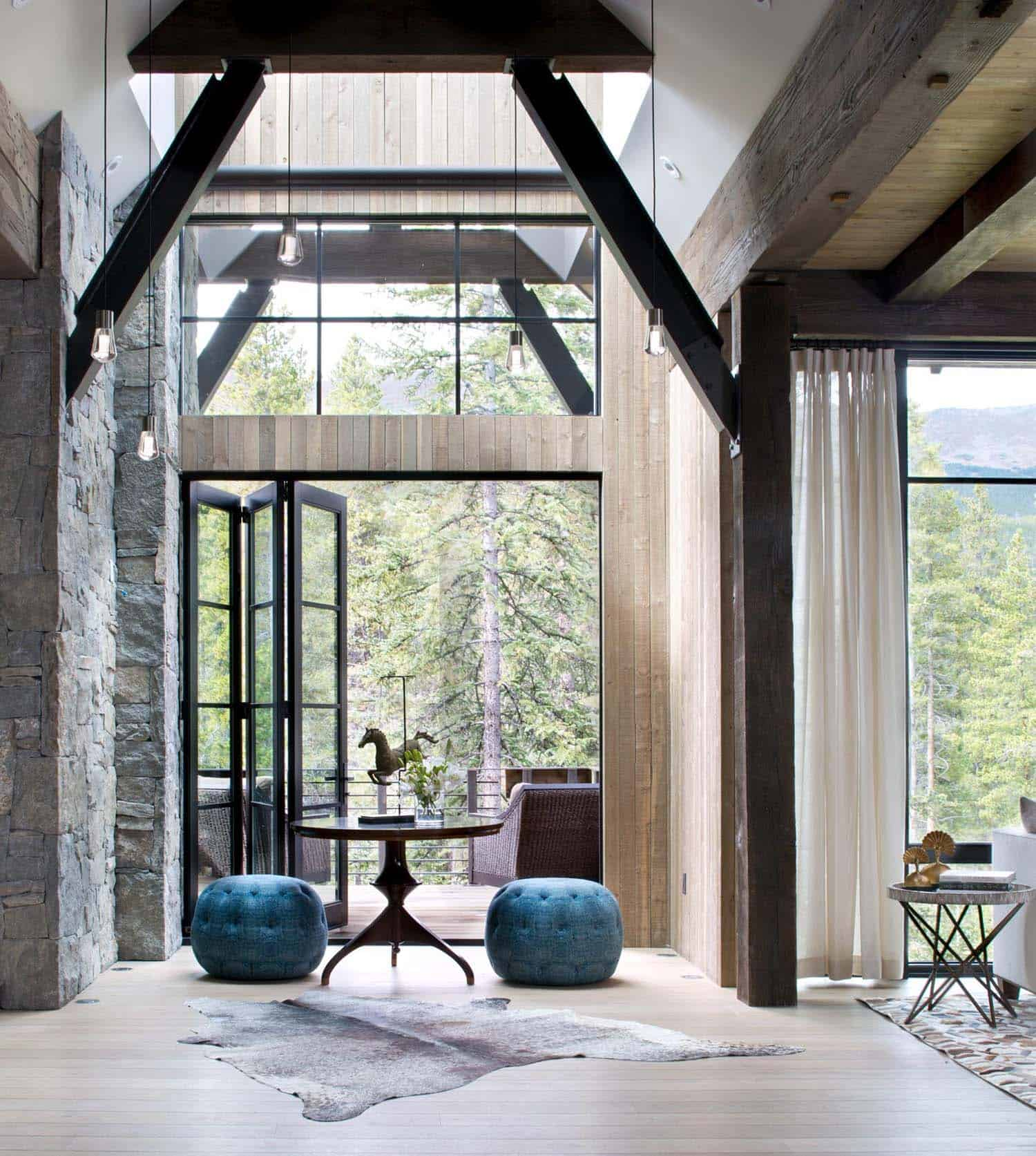 Mountain chalet in colorado showcases rustic contemporary for Andrea s interior design gallery