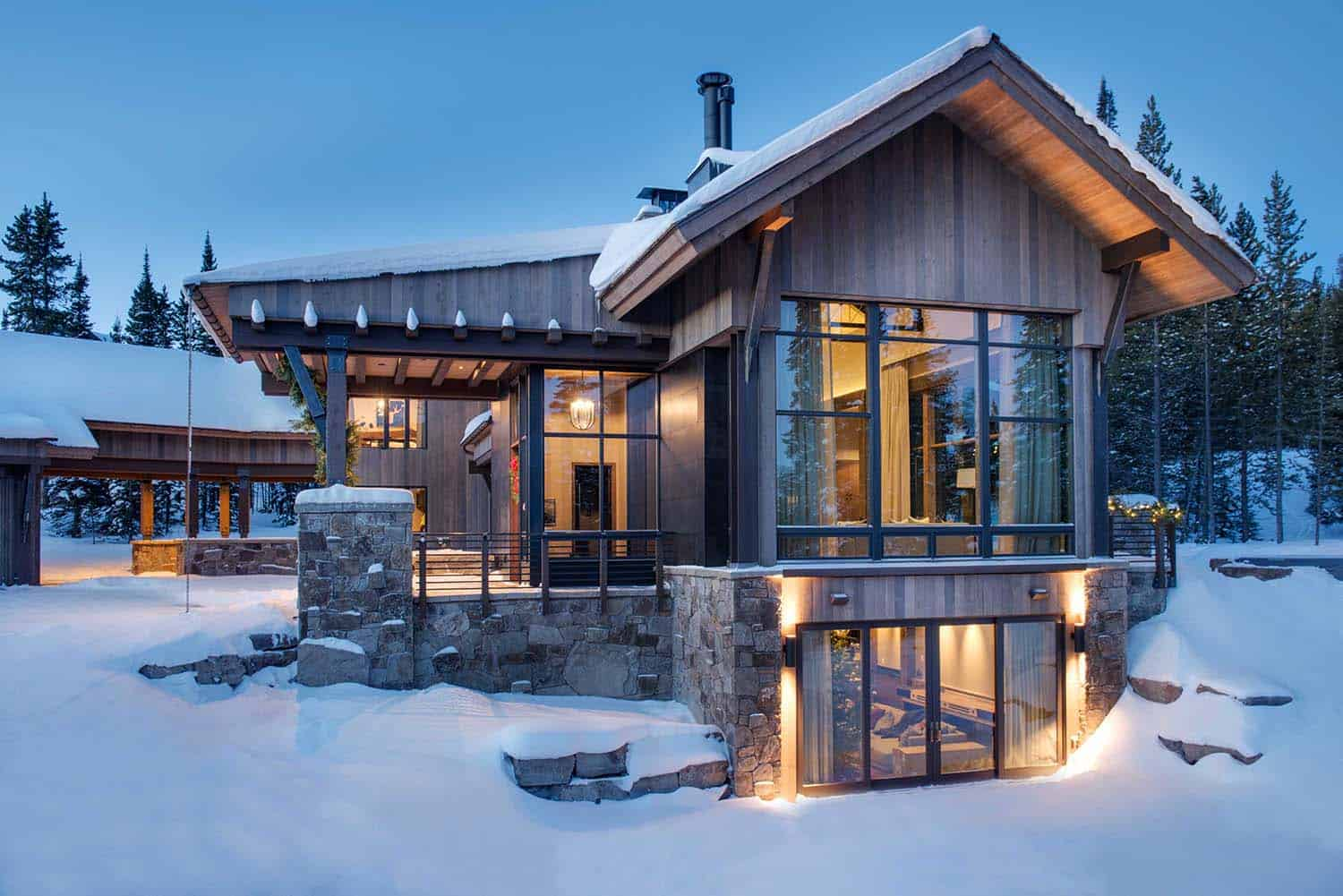 Breathtaking mountain modern home deep in the montana forest for Mountain modern house plans