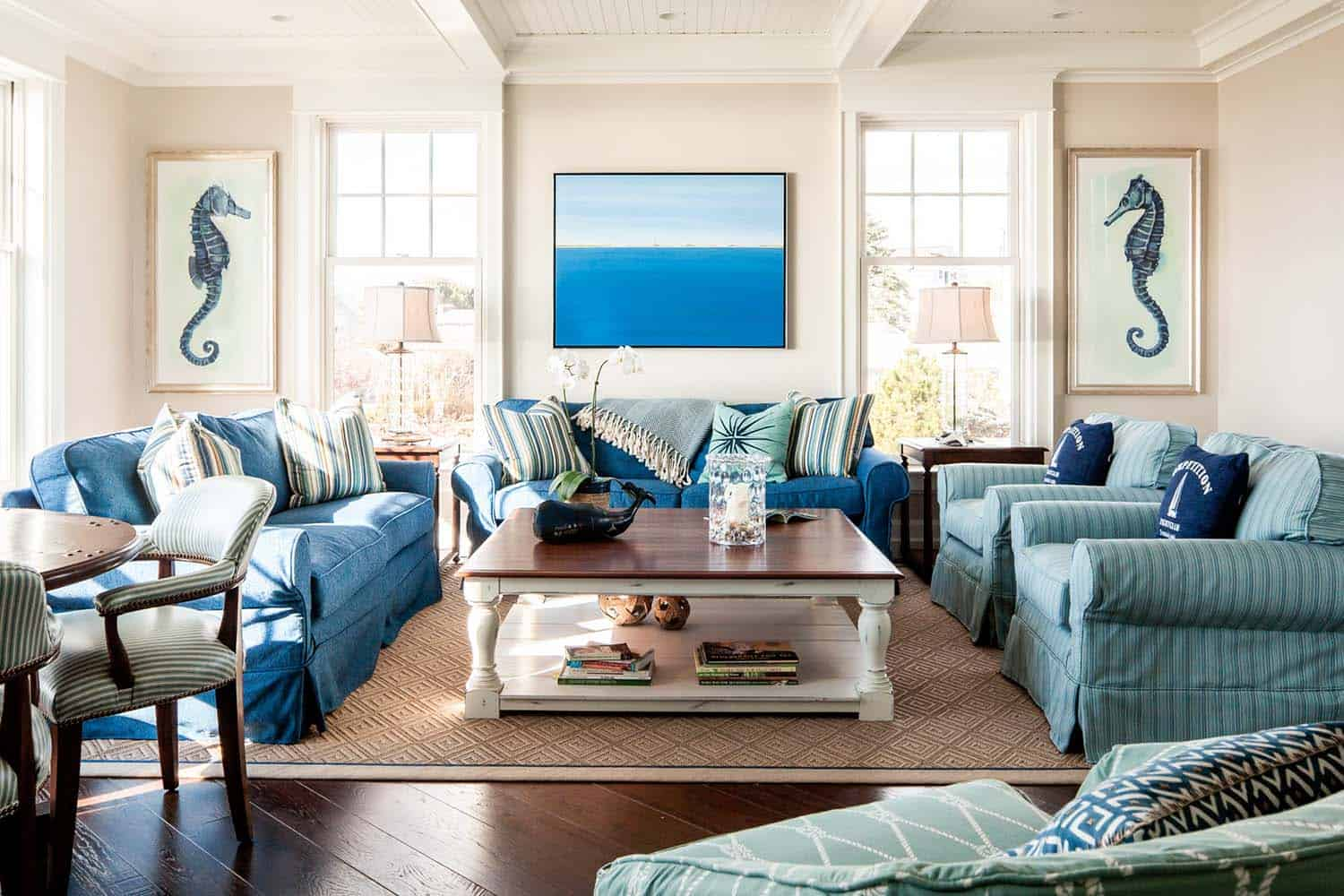 Dreamy seaside home in maine with new england style - Beach themed living room ideas ...