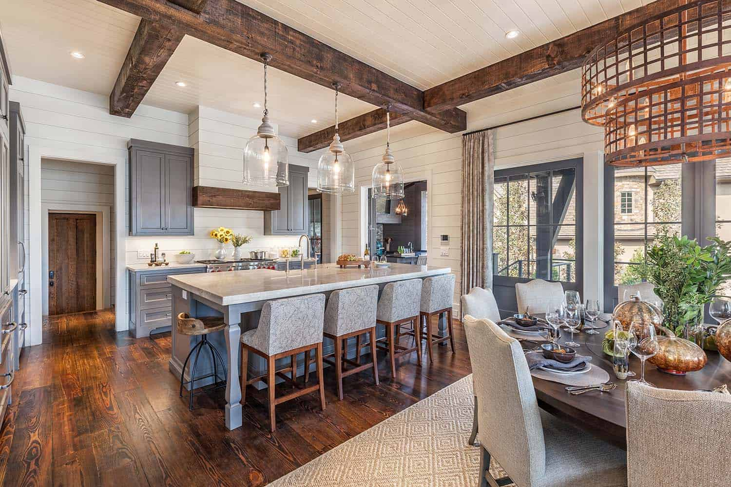 Timber frame home with farmhouse interiors overlooking for Timber frame home interiors