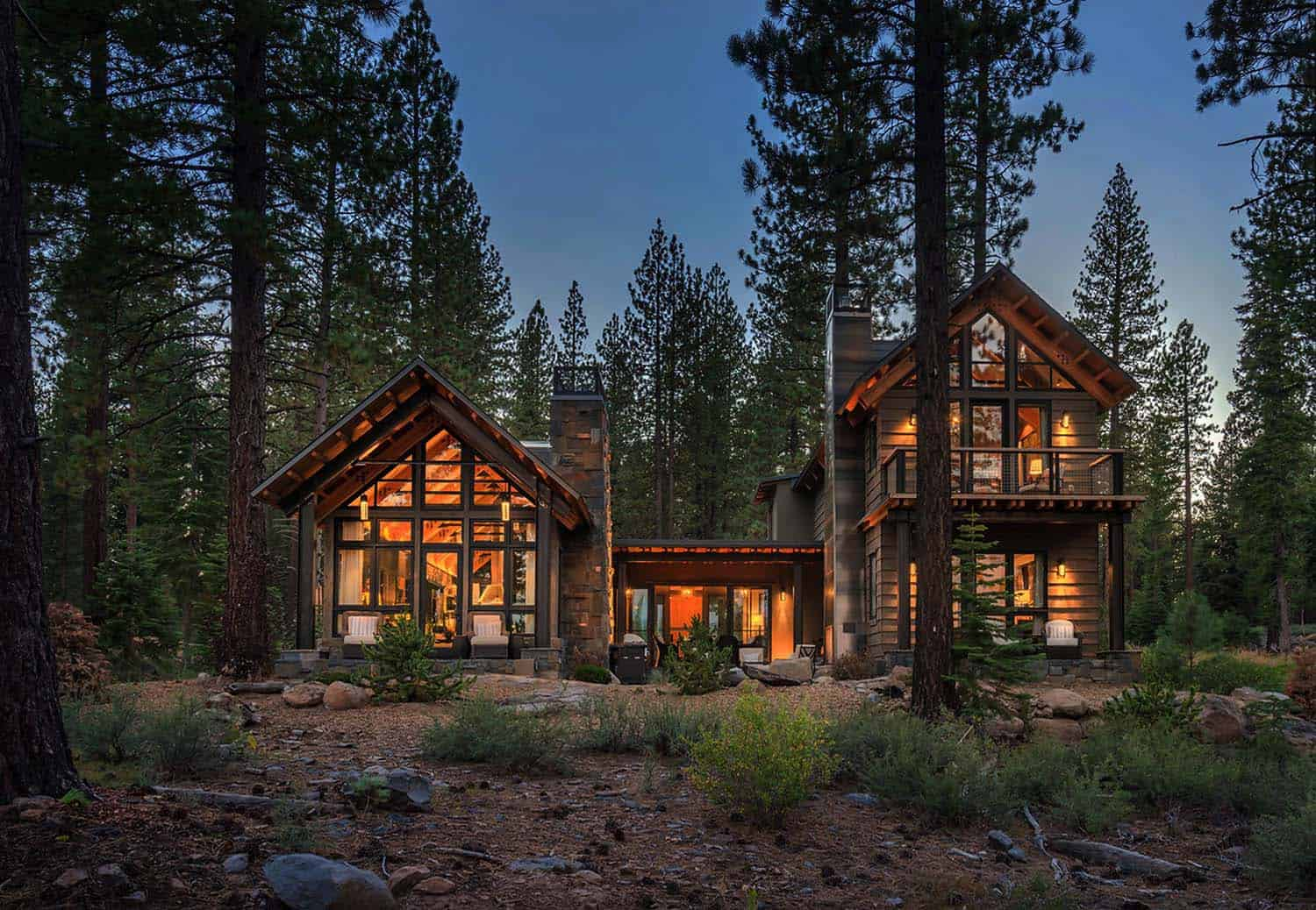 Rustic mountain house with a modern twist in truckee for Custom rustic homes
