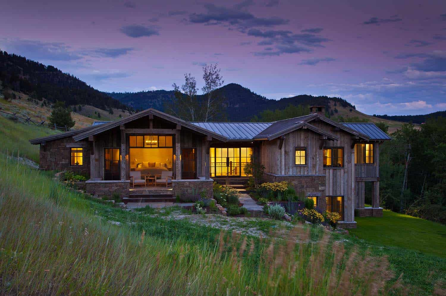 Rustic mountain retreat nestled in the bridger mountain for Retreat house