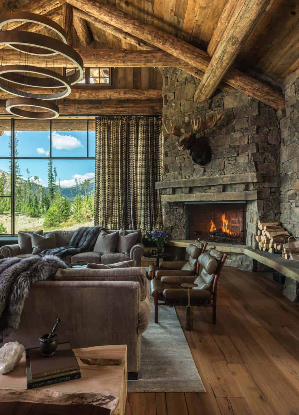 Rustic chic mountain home in the rocky mountain foothills for Modern rustic house designs