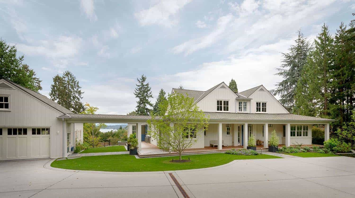 Modern farmhouse inspired residence on a woodsy seattle for Architectural designs farmhouse