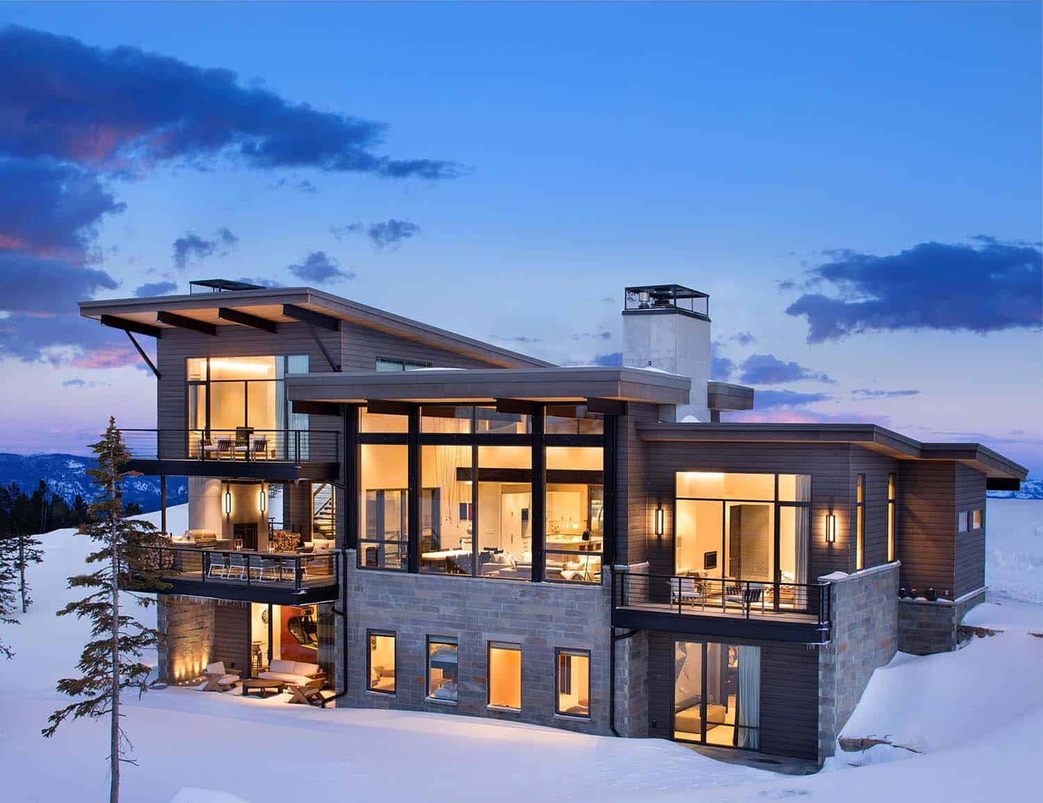 Modern mountain home boasts chic and stylish living in montana for Mountain home architects
