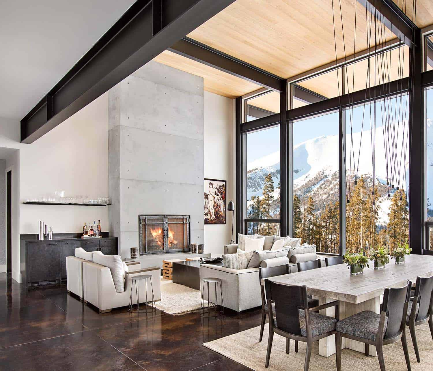 Modern mountain home boasts chic and stylish living in montana for Mountain modern design