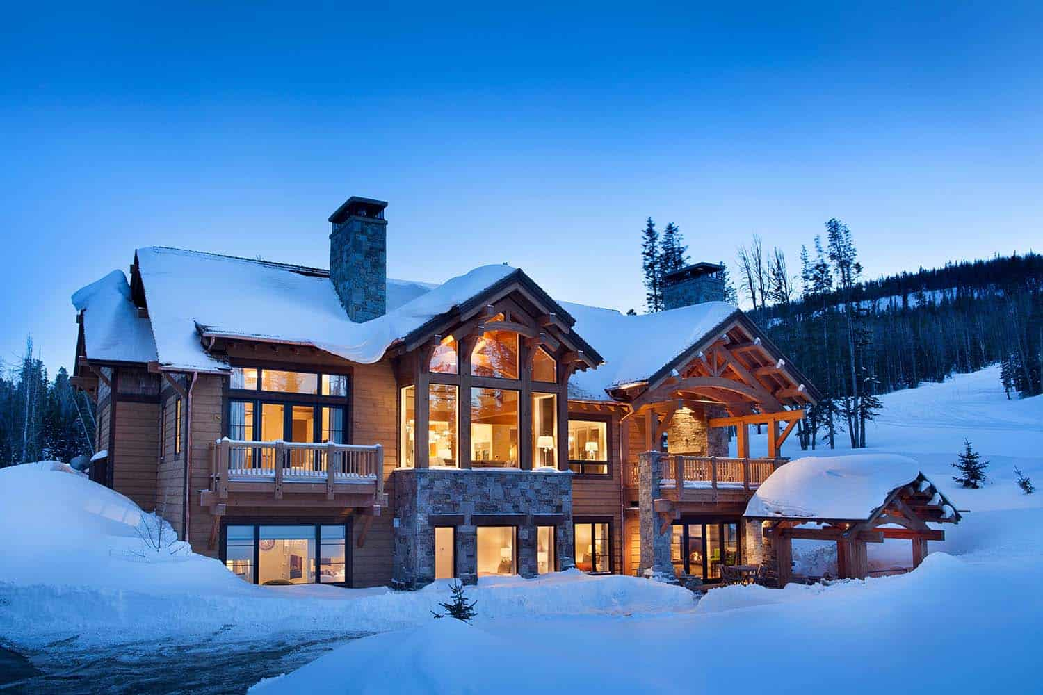 Fabulous mountain house with modern touches in big sky Huge modern homes