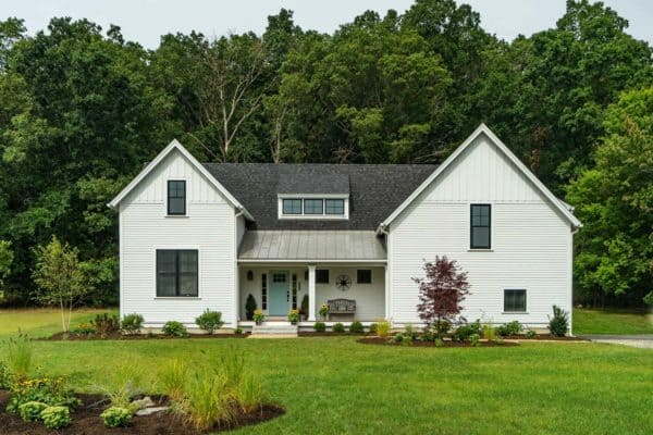 featured posts image for Modern farmhouse style nestled in an idyllic woodsy New England setting