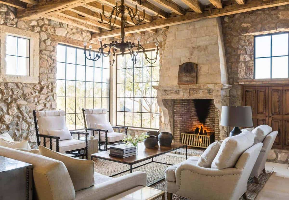 Mediterranean style dream home with rustic interiors in the arizona desert for Rustic mediterranean interior design