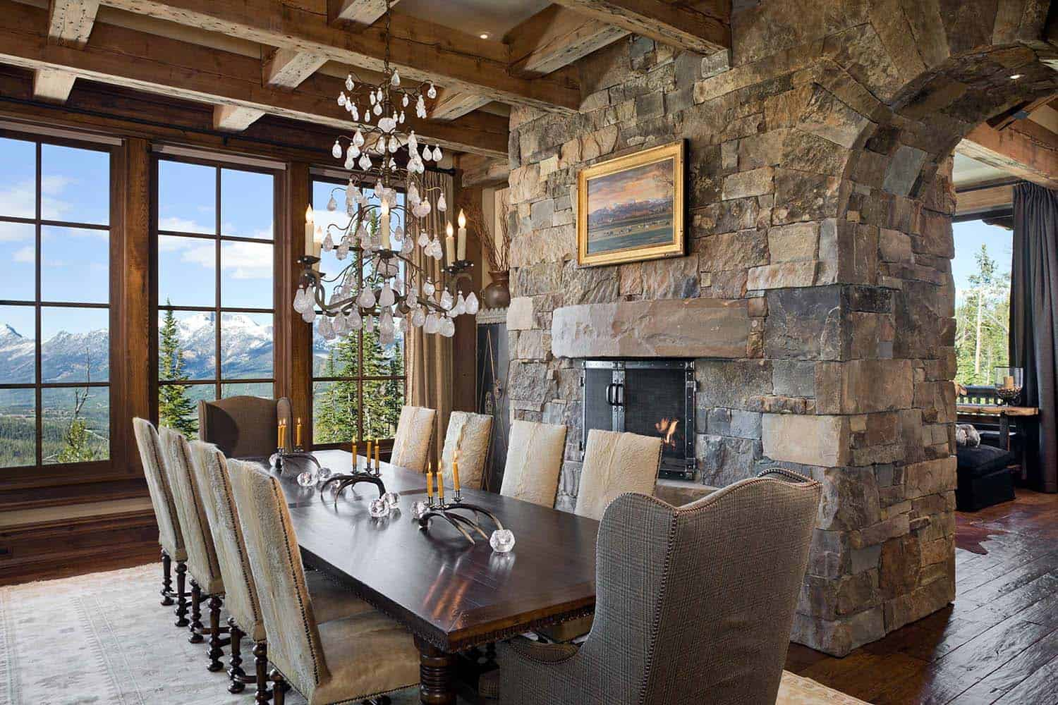 Rustic mountain retreat boasts lodge style appeal in big for Rustic retreat